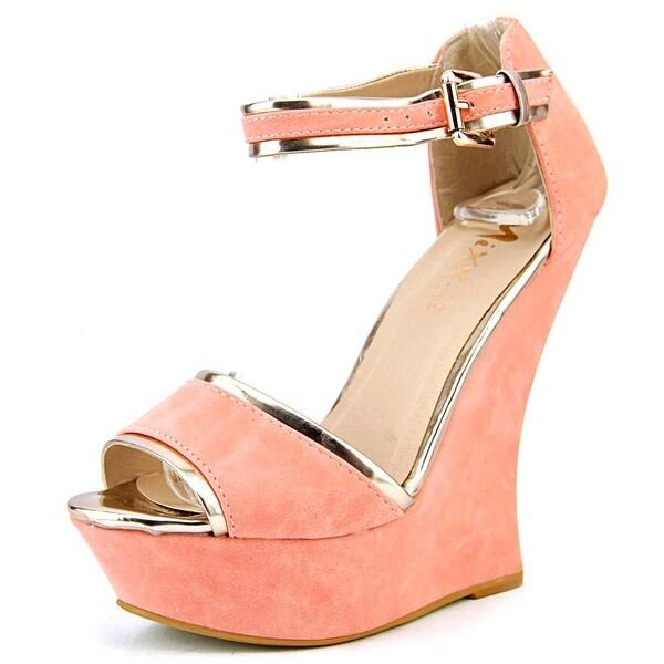 Mixx Shuz Angel Women Open Toe Leather Wedge Heel