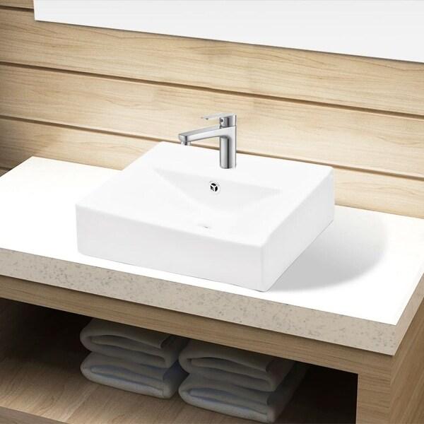 vidaXL Bathroom Sink Basin Faucet/Overflow Hole Ceramic White