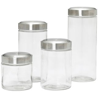 Kamenstein 5117359 Assorted Glass Canisters, Clear, Set Of 4