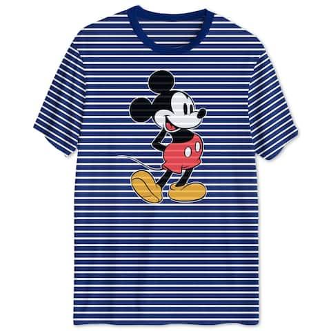 Disney Mens T-Shirt Blue Size Medium M Mickey Mouse Striped Crewneck Tee 303