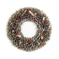"""Set of 2 Green and Red Frosted Finish Decorative Artificial Christmas Wreaths - Unlit 18"""""""