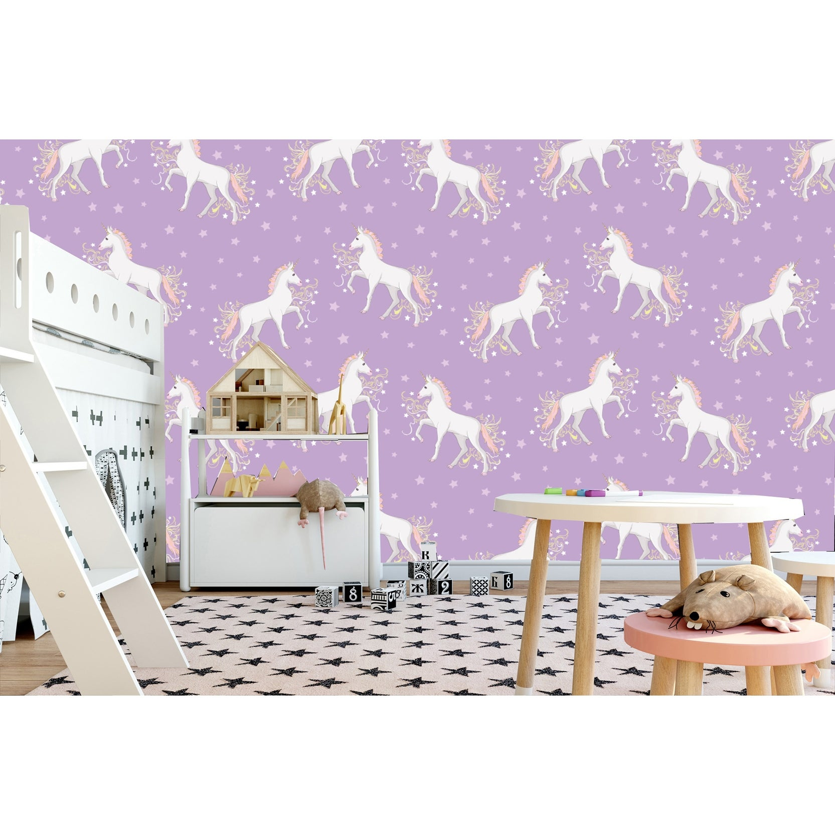 Shop Girls Lavander Unicorn Removable Wallpaper 10 Ft H X 24 Inch W Overstock 31718406