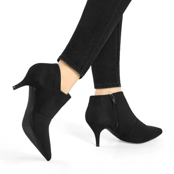 Womens Ankle Boots Low Mid Kitten Heels Ladies Pointy Booties Winter Shoes Size