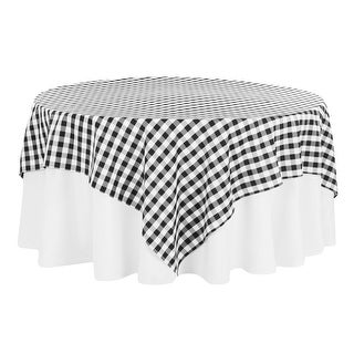 """Checkered Square 90""""x90"""" Polyester Overlay/Tablecloth - Black/White"""