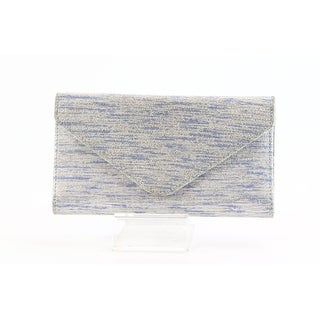 Lodis NEW Blue Silver Trifold Envelope Leather Randy Checkbook Wallet
