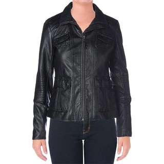 Lucky Brand Womens Faux Leather Center Zip Motorcycle Jacket