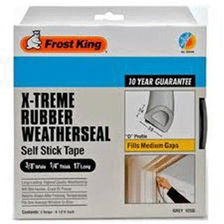 "Frost King V25GA Rubber Weatherstrip Tape, 1/4"" x 3/8"" x 17', Grey"