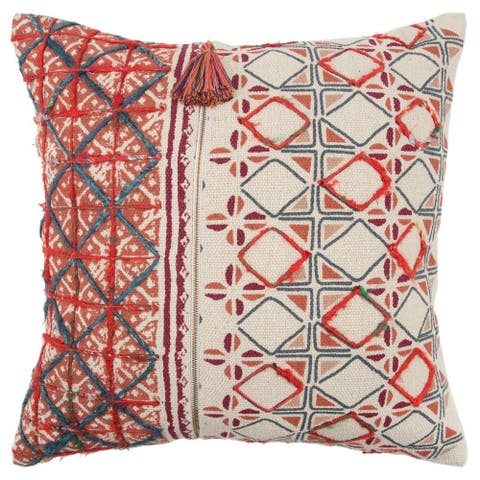 """Rizzy Home Red Geometric 20""""X 20"""" Decorative Pillow"""
