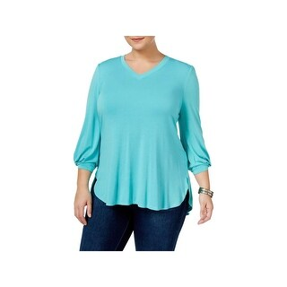 Seven7 Womens Casual Top Jersey V-Neck