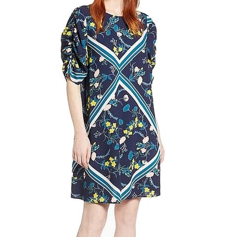 Halogen Blue Womens Size Small S Floral Ruched Sleeve Shift Dress