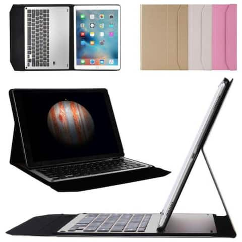 For iPad Air2 9.7inch Ultra Aluminum Bluetooth Keyboard Leather Case Cover