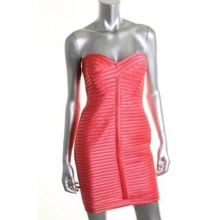 BCBG Max Azria Womens Lillie Mesh Satin Trim Strapless Clubwear Dress - 12