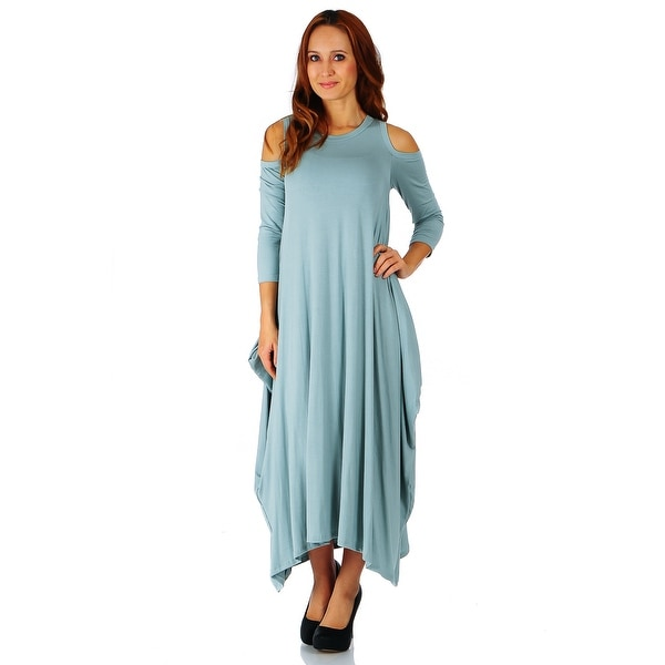 71501c99c6fee Simply Ravishing Maxi Boho Harem Cold Shoulder 3/4 Sleeve Dress (Size: S