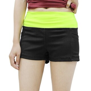 Black Yellow Size L Dual Pockets Quick Dry Skinny Running Gym Sport Shorts Pants