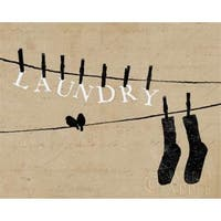 Birds On A Wire - Laundry Poster Print by Alain Pelletier, 8 x
