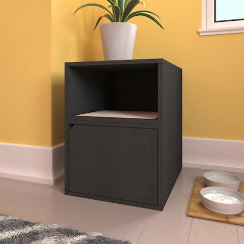 Way Basics Eco Cat Litter Box Duplex Enclosure with Scratching Pad, Black - 19.9 In. X 25.6 In. X 27.2 In.
