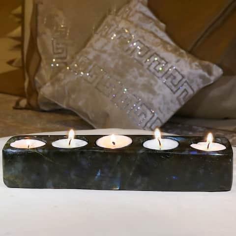 Evaluesell Labradorite Tea Light Holder Handmade - 239 X 54 X 44 mm