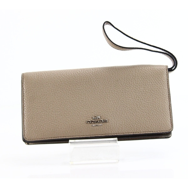 Coach NEW Silver Stone Gray Colorblock Bifold Leather Slim Wallet