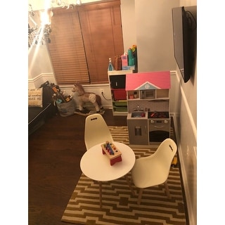 2xhome Designer Plastic Kids Circle Activity Table Bedroom Home School Preschool Daycare Child Montessori Wooden Eiffel Dowel