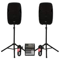 """Acoustic Audio AA15BT Powered 2000W 15"""" Bluetooth Speakers with Mixer and Stands"""