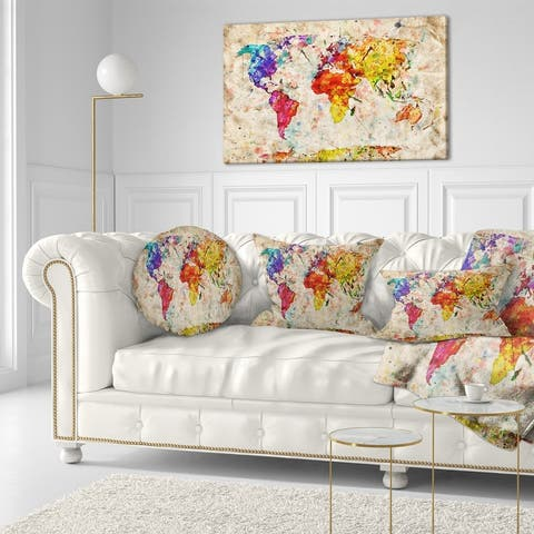 Vintage World Map Watercolor - Maps Canvas Art Print - Red