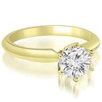 0.50 cttw. 14K Yellow Gold Knife Edge Solitaire Round Diamond Engagement Ring
