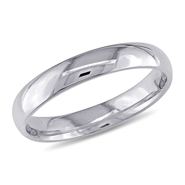 Miadora 10k White Gold Ladies Comfort Fit Wedding Band (3mm). Opens flyout.