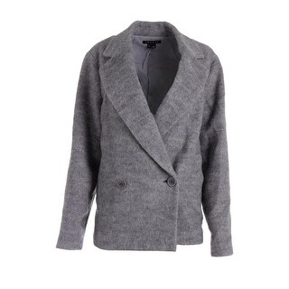 Theory Womens Lianamar Wool Blend Textured Double-Breasted Blazer - L