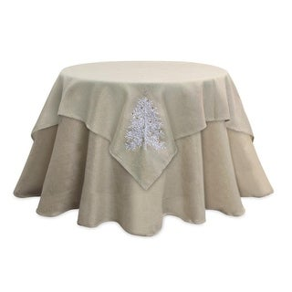 """Pack of 2 Elegant Metallic Gold Table Toppers with White & Gold Festive Christmas Tree Design 54"""""""