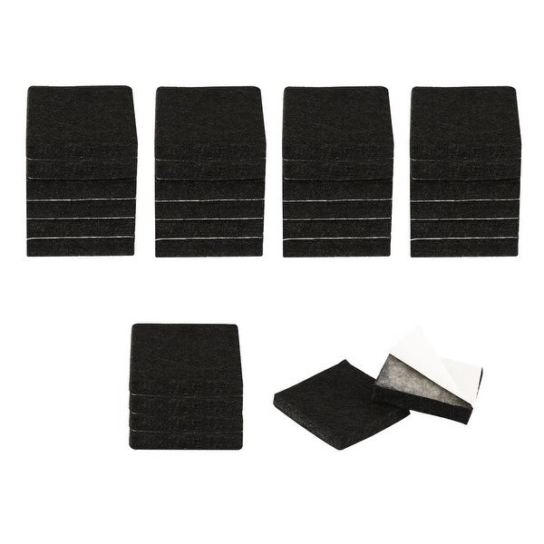 "30pcs Furniture Felt Pads Square 1"" Reduce Noise Anti-scratch Pads for Sofa Table Chair Feet Floor Protector Black"