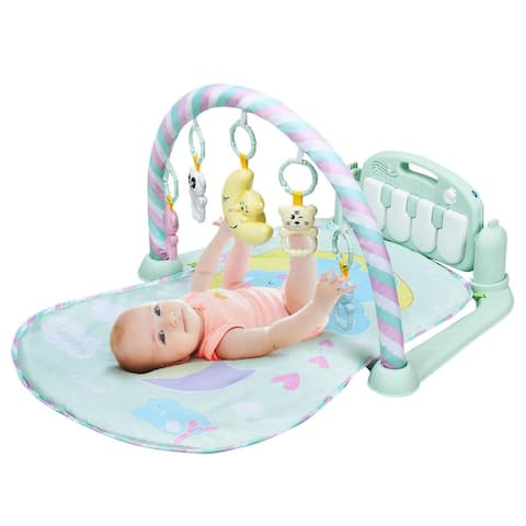 Gymax Baby Gym Play Mat 3 in 1 Fitness Music and Lights Fun Piano - Multi