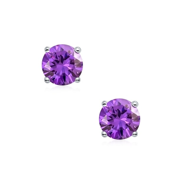 CZ Amethyst /& Diamond Round Stud Earrings 14Kt Yellow Gold Plated Over Sterling Silver