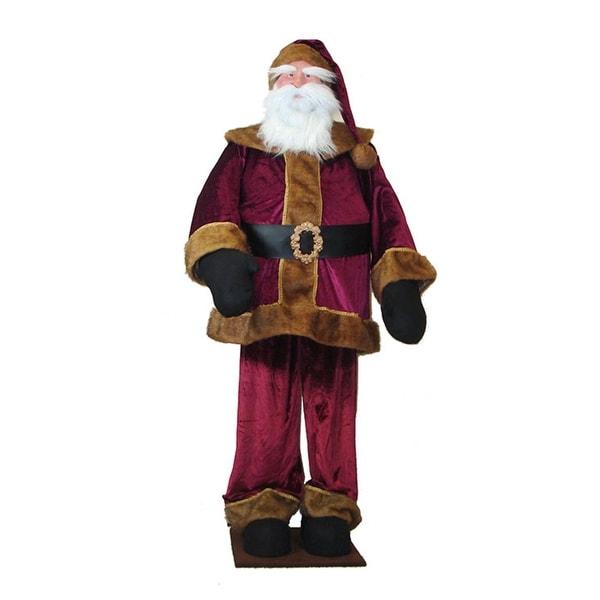 Huge 6 Foot Life-Size Deluxe Burgundy Velvet Santa Claus - Sitting or Standing