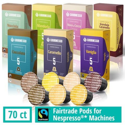 Gourmesso Capsules for Nespresso Machines - 70 ct Espresso Flavor Variety - Compatible Fairtrade Coffee Pods