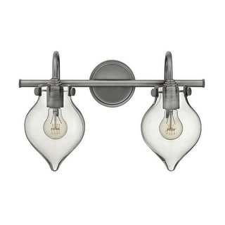 "Hinkley Lighting 50027 2 Light 19.25"" Width Bathroom Vanity Light with Clear Teardrop Shade from the Congress Collection"