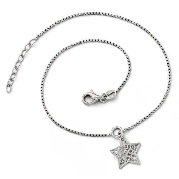 Italian Sterling Silver Textured Star Anklet with 1in ext - 9 inches