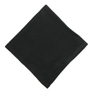 CTM® Women's Cotton Black Hand Hemstitched Handkerchief - One Size