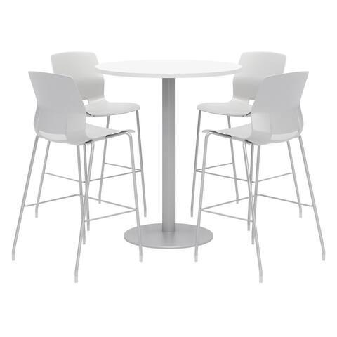 """Olio Designs Round 42"""" Bistro Table Set, Lola Barstools, Designer White - 42"""" Dia."""