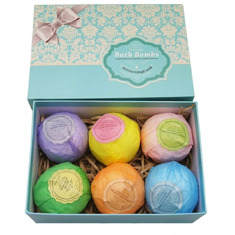 Bath Bombs Ultra Lush Gift Set of 6 All Natural Ingredients - Multi-Color