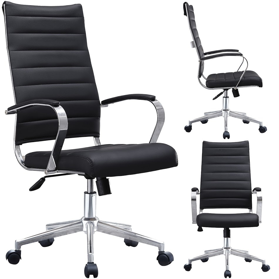 2xhome -Modern Black High Back Office Chair Ribbed PU Leather Swivel Tilt  Conference Room Computer Desk Cushion Seat Boss