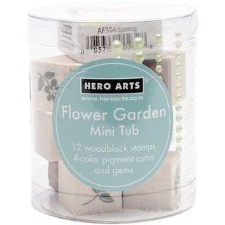 "Hero Arts Mounted Stamp Mini Tub Set 3.25""X2.5""-Flower Garden"