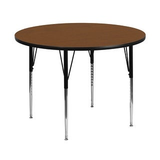 Offex 48'' Round Activity Table with 1.25'' Thick High Pressure Oak Laminate Top and Standard Height Adjustable Legs