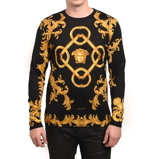 Versace Men's Baroque Print Medusa Sweater Black Gold