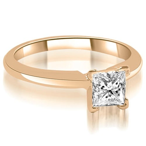 0.50 cttw. 14K Rose Gold V-Prong Princess Diamond Solitaire Engagement Ring
