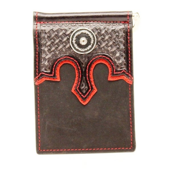 Nocona Western Wallet Mens Bifold Leather Conchos Basketweave - One size