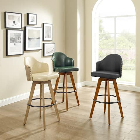 Corvus Metz Mid-century Bonded Leather Swivel Bar Stools (Set of 2)
