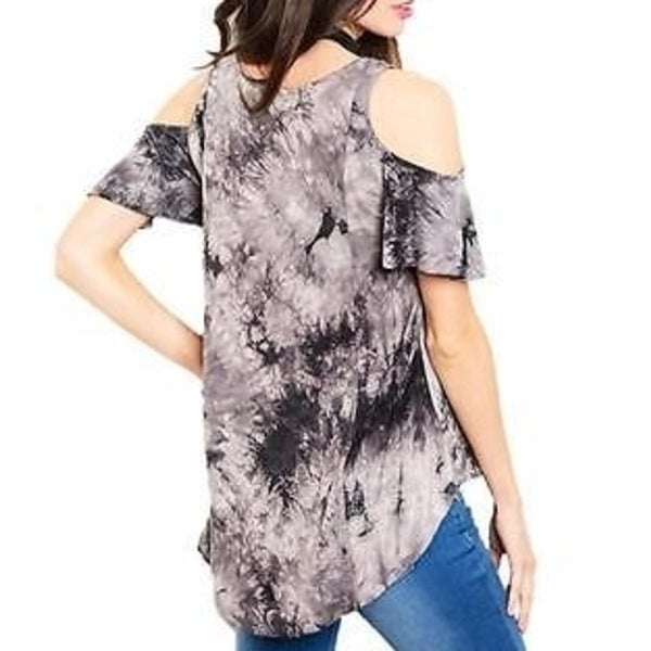 New USA  Boho Peasant Western Paisley Cold Shoulder Dress Tunic Top Blouse  M
