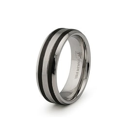 Polished Stainless Steel Ring with Black Plated Center 7mm (Sizes 9-12)