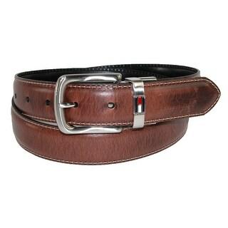 Tommy Hilfiger Men's Leather Reversible Belt with Flag Logo