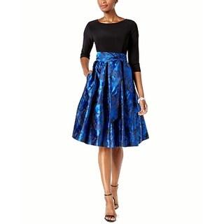 Jessica Howard Tie-Waist Jacquard Fit & Flare Dress